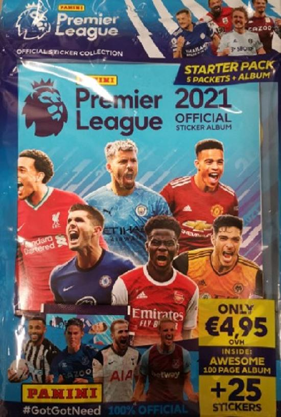 Premier League -aloituspakkaus (tarrat) OFFICIAL STICKER COLLECTION Starter Pack 2021