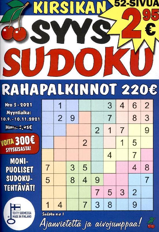 Kirsikan Sudoku Nro 5 - 2021 10.9 - 10.11.2021 SYYS