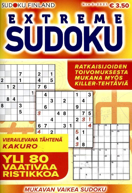 Extreme Sudoku Nro 5 2021 Yli 80 vaativaa ristikkoa