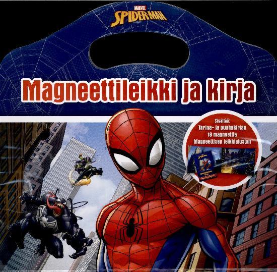 Spider-Man Magneettileikki ja kirja 1/2020 Puuhakirja, 18 magneettia & leikkialusta
