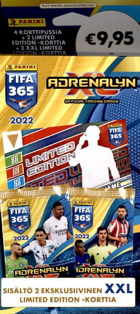 Panini Fifa 365 Adrenalyn XL -4 korttipaketin laatikko 2022