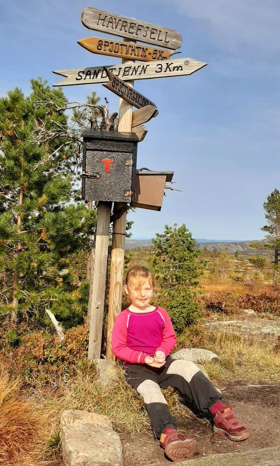 Tia Christine Ristøl på 5 år tar en velfortjent hvil på toppen av Havrefjell!