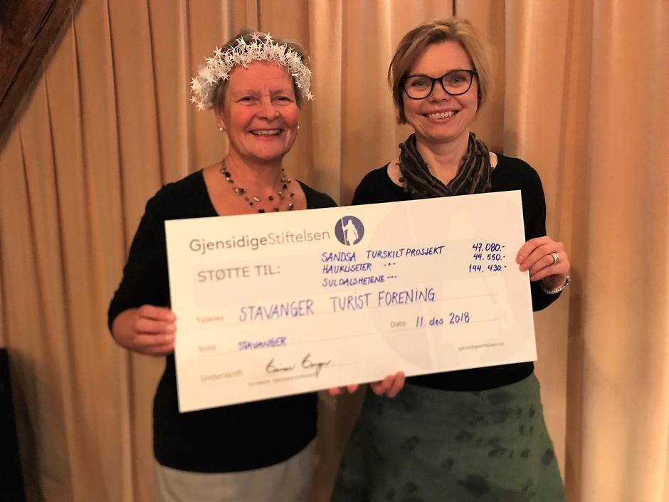 Inger Tone Ødegård fra Gjensidestiftelsen og styreleder i STF Gunhild Holtet Eie med sjekken mellom seg.