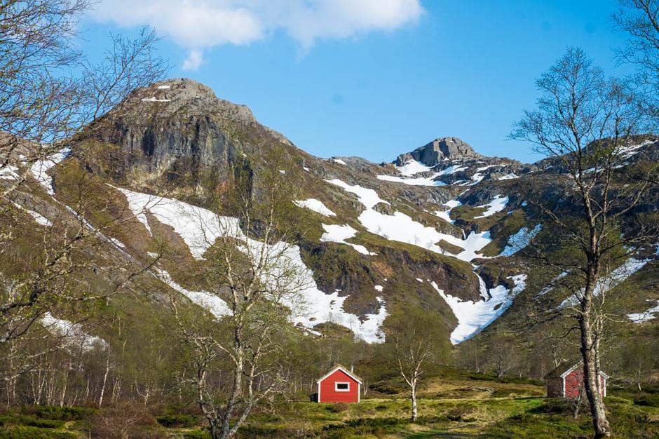 Stølen Bjørnabu på vei opp til Melands Grønahei. Nesten helt fritt for snø.