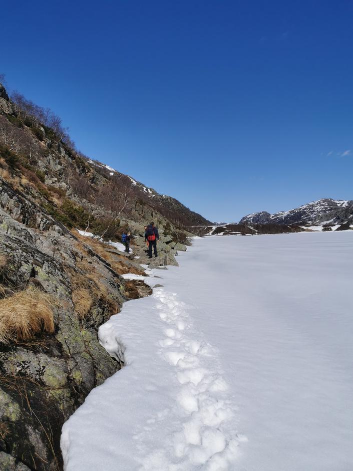 Det ligger fortsatt en del snø på stien fra Eikebrekka til Kvitlen. Fra Bjordal er det helt snøfritt.