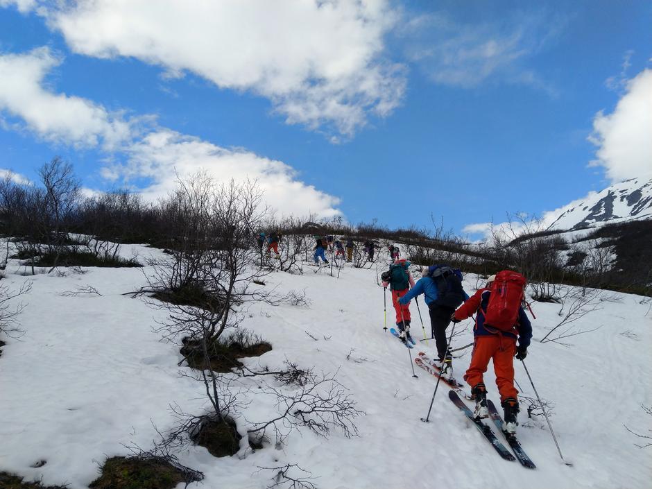 Endelig snø under skia