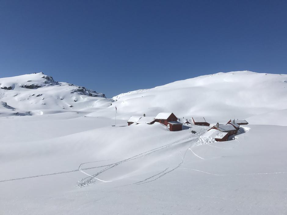 1000 moh er det mer enn nok snø for lange vårskiturer. Her Stranddalen 17. April med gode skiforhold.