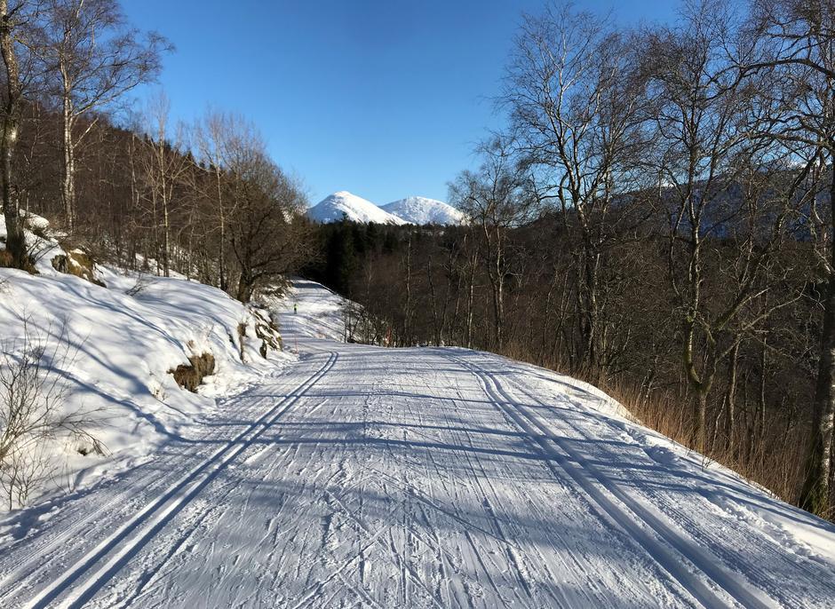 Torsdag 11.2: Grindåsvegen mellom Totland og Frotveit. Hausdalshorga og Søre Gullfjellstoppen i bakgrunnen.