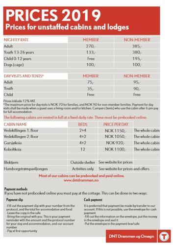 Prices unstaffed lodges