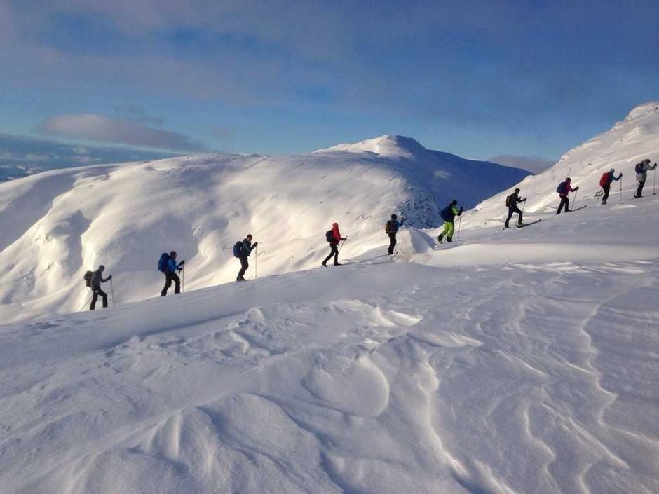 Turfølgjet mot toppen på Kruna.
