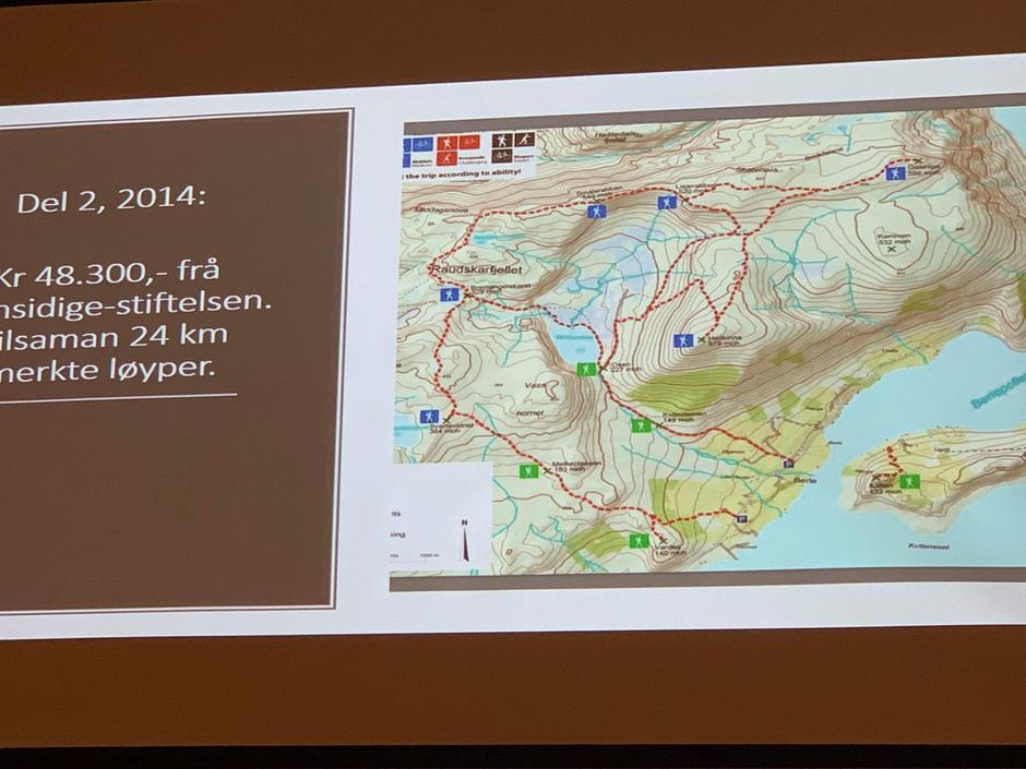 Kart over merka turløyper i Berle