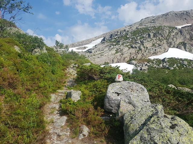 Stien fra Skåpet og mot Flørli.