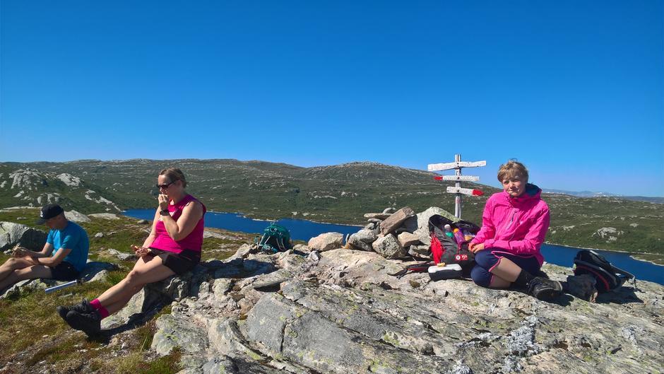 På Leineheia med vatnet Skilbreida og Dingsøyrstølen i bakgrunn.