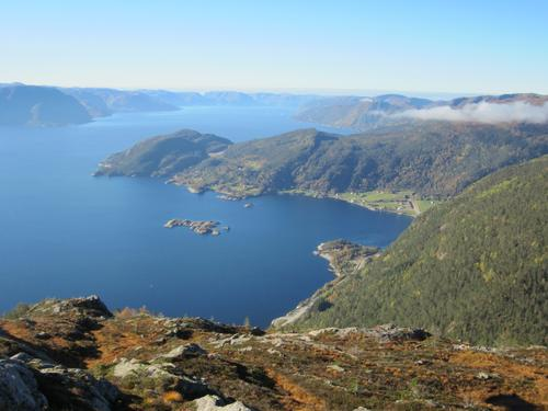 Utsikt utover Sognefjorden frå oppstigninga til Fløyen.