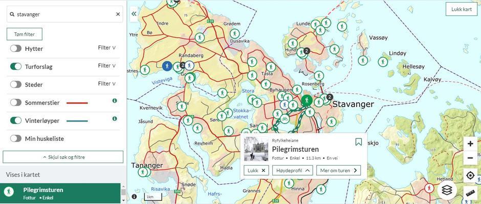 """Hvis du zoomer ut kartet på Ut.no, kan du få en stor oversikt over nærturer i området ditt. Klikk på hver """"boble"""" for å se den enkelte turen."""