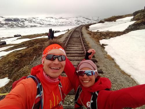 Turledere Fredrik Emil og Maria. Her fra tidlig vårtur i fjellet