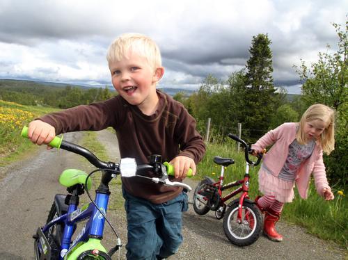 Her er bestevenner og turkamerater, Oscar Skoglund og Stella Optun Forså (4 år) på sykkeltur. Førstnevnte tydelig stolt med ny sykkel. [an-borrm@online.no, 97403939]