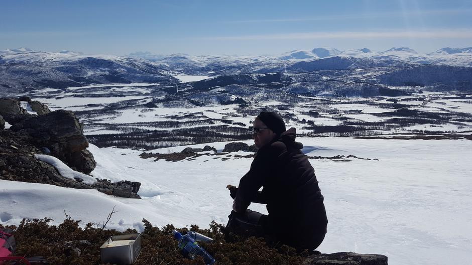 Mye av Harstad Turlags kjerneområde kan sees fra Vetefjellet. Her fra en tur 29. april 2017.
