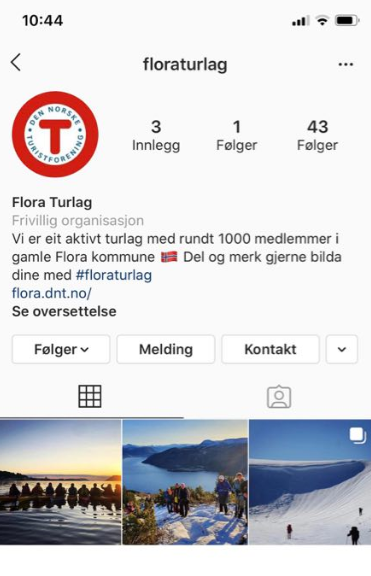 Skjermdump Flora Turlag Instagram