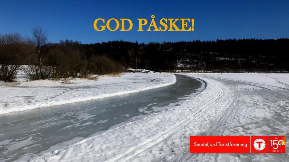 Stien går over Goksjø. Nydelig for både skøyter og ski!