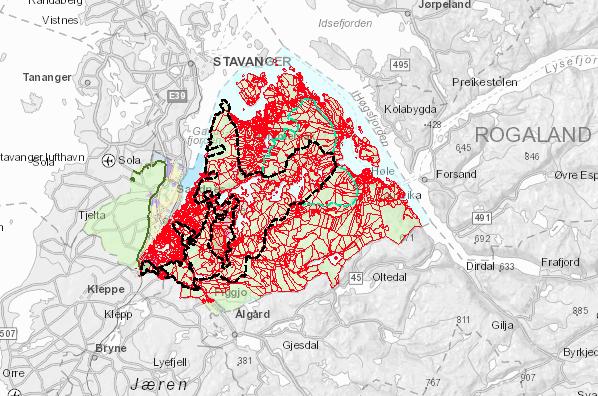 – Kanskje det mest gledelige er forslaget om utvidelse av grensene for det som defineres som Sandnesmarkå. Her er gammel grense sort stiplet linje og nytt forslag en grønn linje, forklarer nestleder i Sandnes Turlag, Knut Sellevoll.