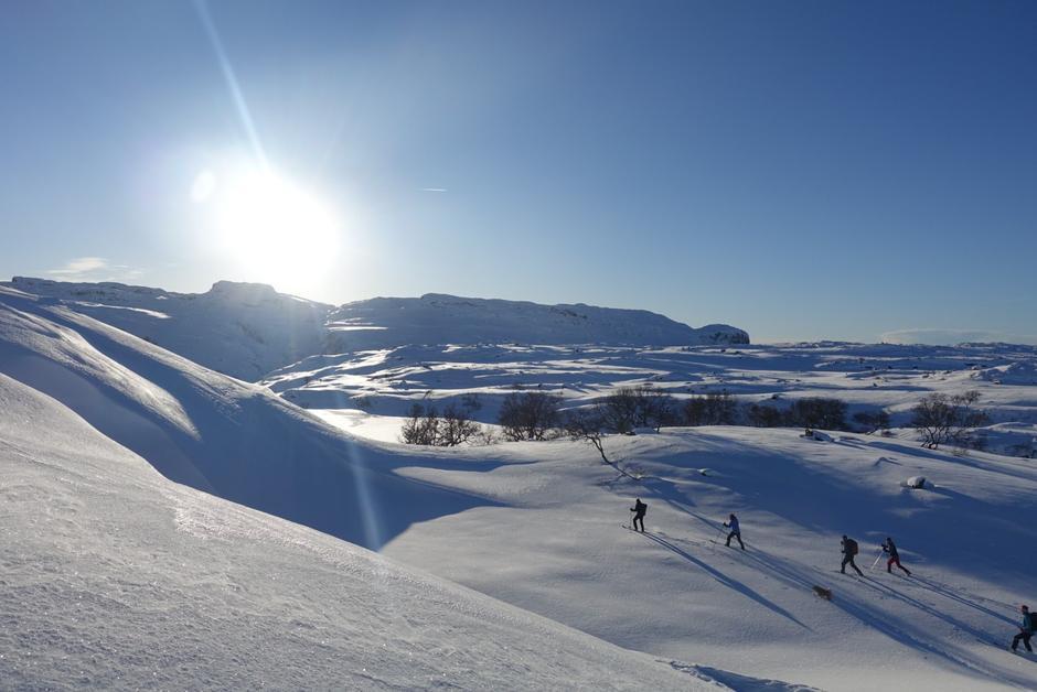 Fantastiske skiforhold fra Fundingsland mot Melandsgrøna hei (Liarstølvannet, Stakkstøl, Vasstøl, Frigarsheia).