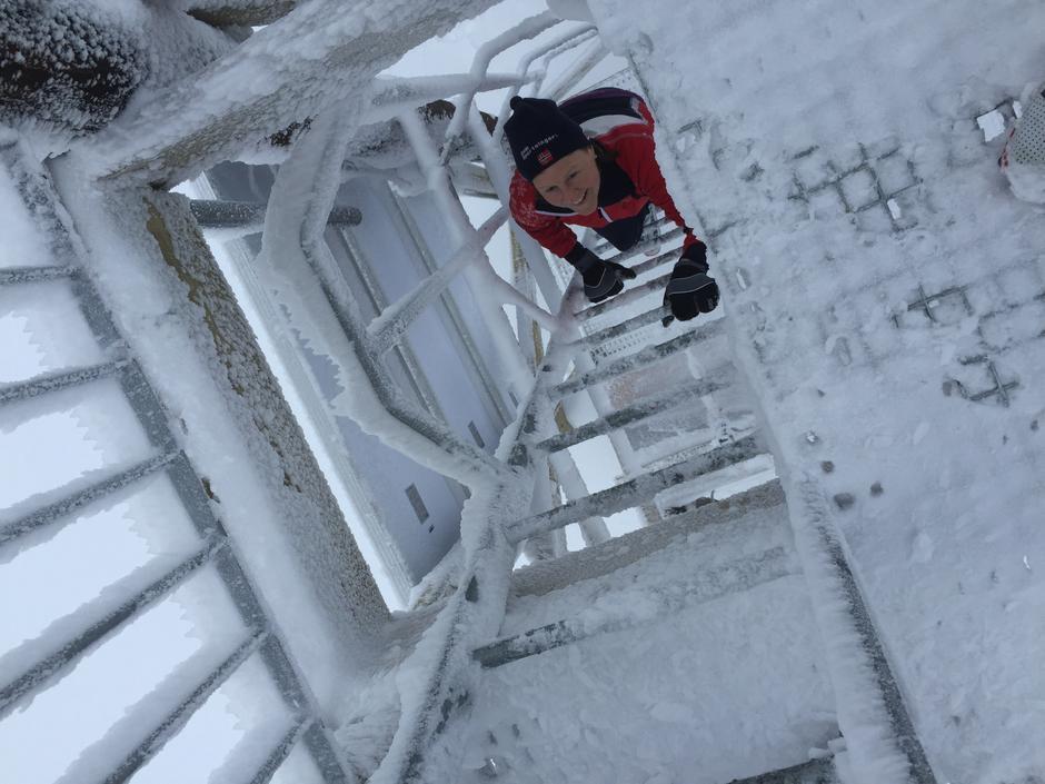 Det er morsomt å klatre opp i utsiktstårnet på Marifjell. Her får du en vid utsikt.