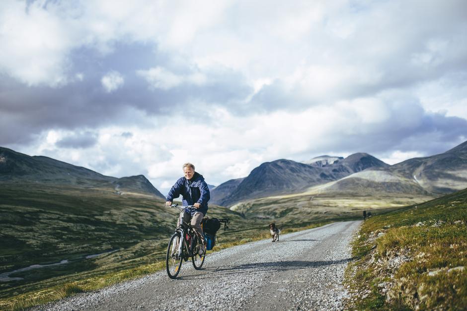 Sykkeltur på Rondane like ved Rondvassbu med hund.