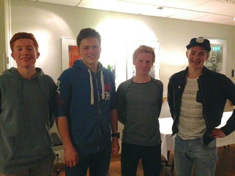 Det nye styret i DNT ung Indre Sunnfjord:  f.v. Bendik Haaland Schei, Andre Bruland Gurvin, Anders Nesse og leiar Håvard Sandal Høyvik. Ole Marius Johnsen var ikkje tilstades på årsmøtet.