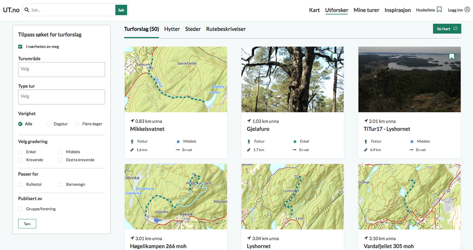 Slik ser det ut om du sjekker ut turforslag som ligger i nærheten når du er på Lysekloster i Bjørnafjorden kommune.