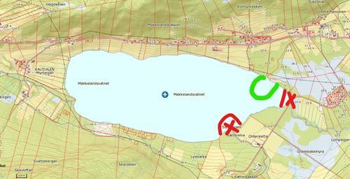 Grønn ring: oppholds- og oppmøtested. Rødt kryss viser områder vi skal holde oss unna.