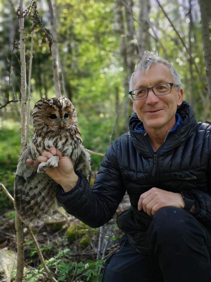 Kattugle fra Gjøvik innfanget for ringmerking. Gunnar Nyhus til høyre.