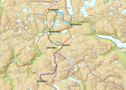 Ruter for turen Tyin-Hemsedal