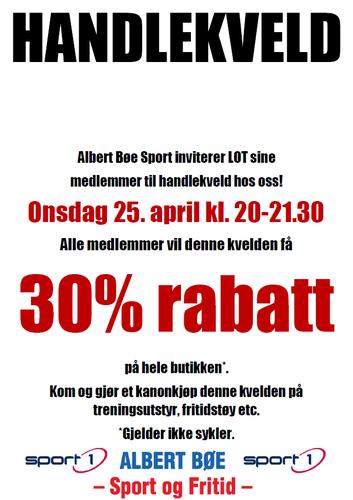 Handlekveld med 30% rabatt hos Albert Bøe  for LOTs medlemmer 25. april