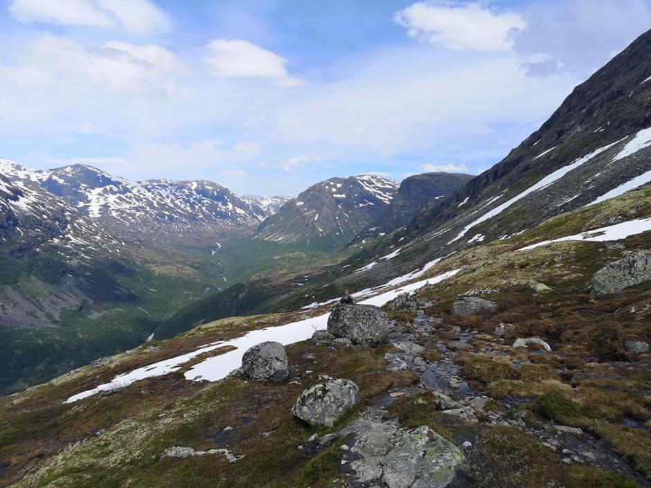 20. juni 2020 gikk brødrene til bestyrer Ole Martin fra Vetti til Skogadalsbøen. Litt snø øverst over Friken, fine forhold.