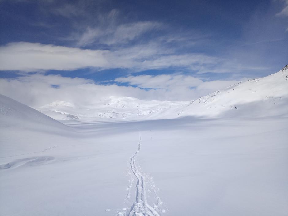Kvistet fra Haukeliseter til Holmavatn. Her fra Ingelsvatn ned mot Englestjønn. 27 mars.