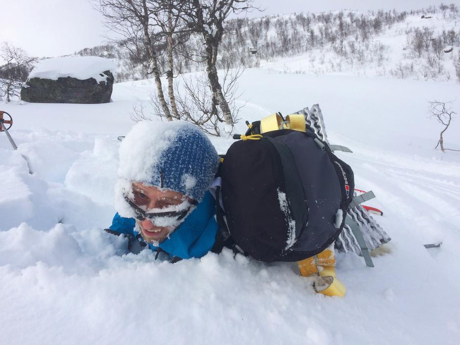 Einar et par sekunder etter et legendarisk stup.