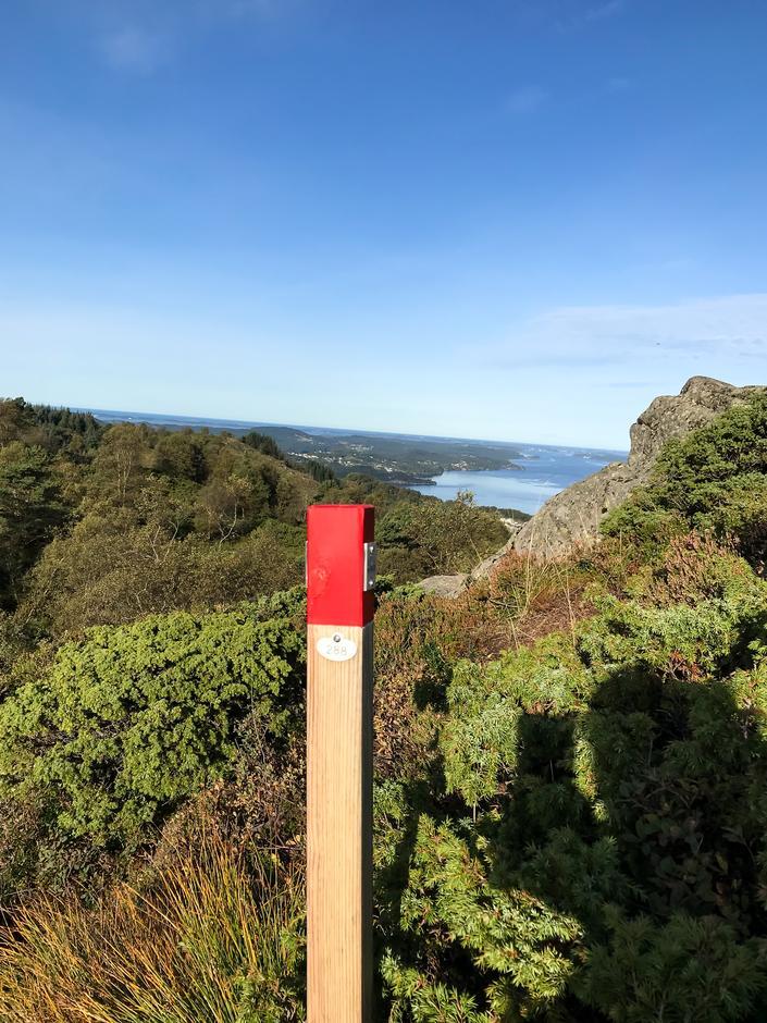 Stien er merket med klopper og skilt. Her en kloppe ved Ulsetvarden. Etappe 7.