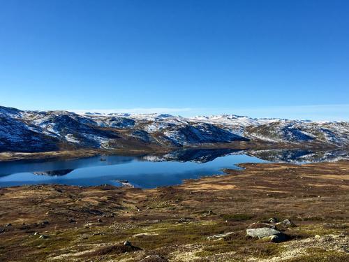 Kvennavassdraget på Hardangervidda. Tatt rett etter at morgendisen lettet, tidlig i oktober. Klarvær og vindstille, en helt nydelig dag.