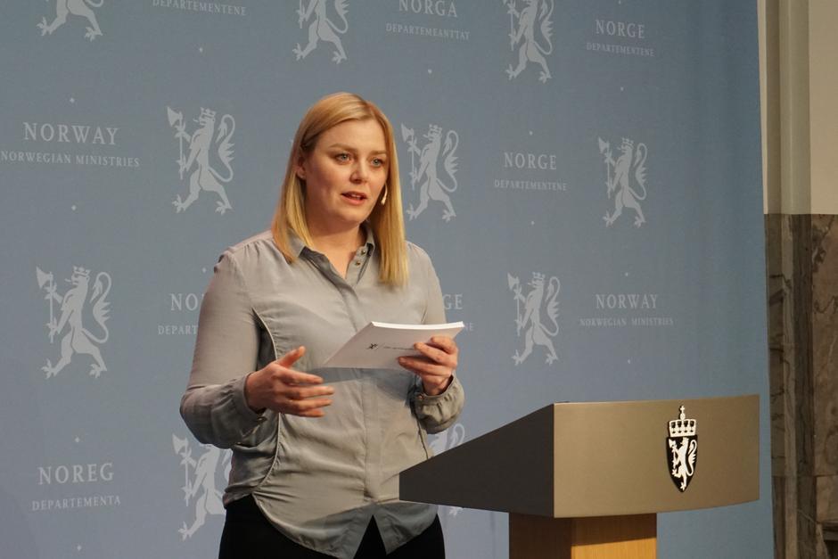Olje- og energiminister Tina Bru la i dag frem stortingsmelding om vindkraft på land.