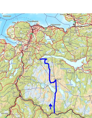 Omtrentlig rute for turen