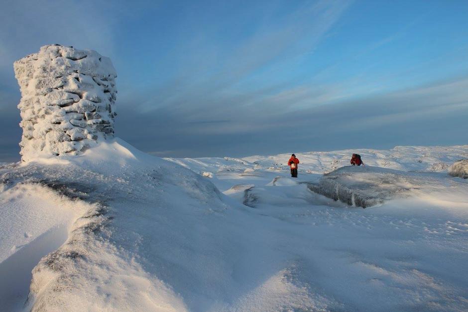 8. januar 2017: Austre Blåfjell 1075 moh: Toppen ligger vest for Sandvatn.