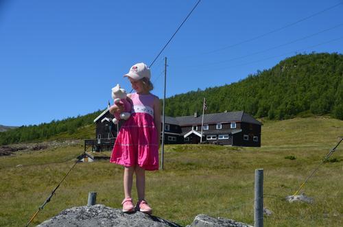 Solheimstulen i bakgrunnen. Sommeren i fjor rett etter at DNT overtok hytta.