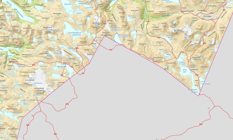 Oversiktskart NOT-ruter sør med hytter