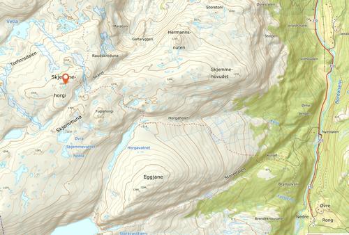 kart over turområdet rundt Skjemmahorgi