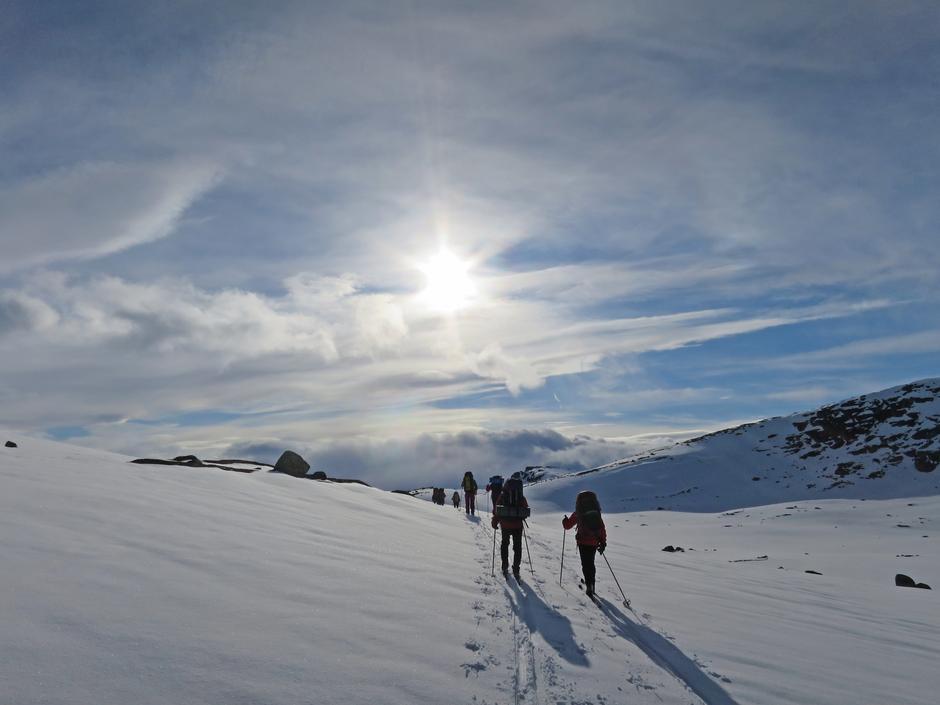 På vei mot Svartenut med fjellsportgruppa i DNT Sør.