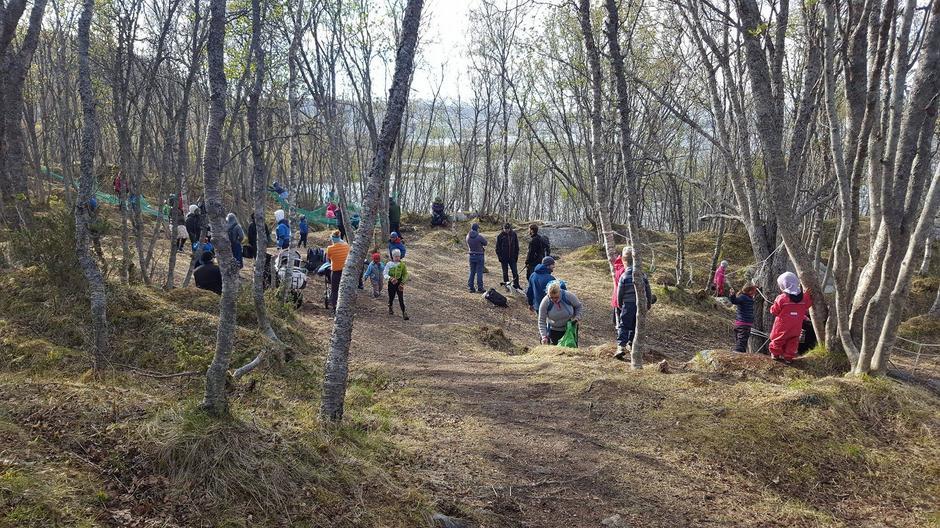 Populært lekeområde i Apeskogen på Stangnes