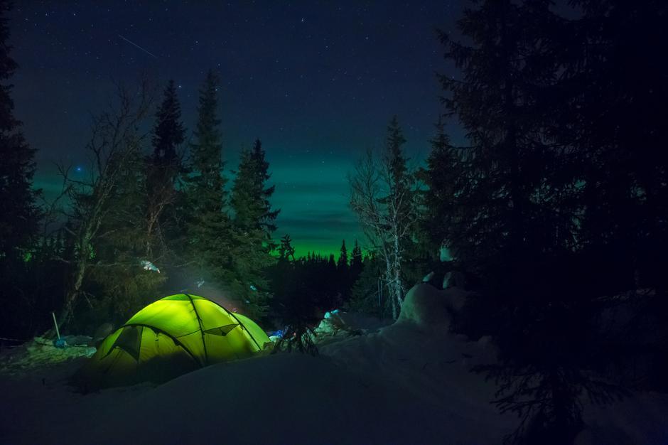 Første telttur om vinteren med familien med barna på 4 og 1 år. Hedmark januar 2017