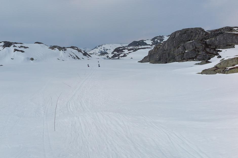 Snøforholdene på Litle Sandvatn søndag 7. april