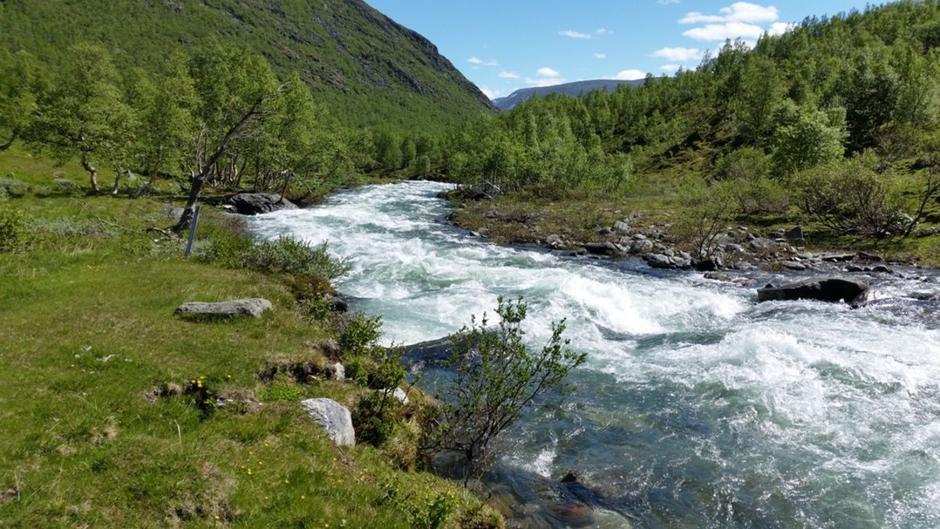 Høg vannføring ved Geitåa (arkivbilde).